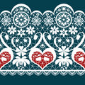 White seamless valentine lace pattern texture on blue background Stock Photos