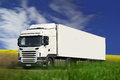 White semi truck on campain road Stock Photo