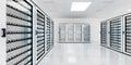 White server room data center storage 3D rendering