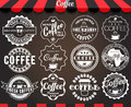White set of round vintage retro coffee labels and badges on blackboard Royalty Free Stock Photo