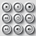 White shaded plastic button vector player set file eps format Royalty Free Stock Image