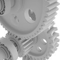 White shafts gears and bearings d render on background Royalty Free Stock Photos