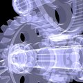 White shafts gears and bearings x ray render on black background Royalty Free Stock Photos