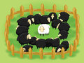 White sheep in the flock of black sheep (opposite Royalty Free Stock Photo