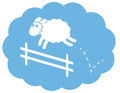 White Sheep Jumping Fence Stock Photo