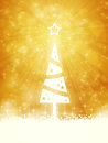 White shiny christmas tree made of stars on golden light ray background with sparkling lights and defocused light dots Royalty Free Stock Photos