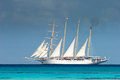 White ship, Fakarava Stock Images
