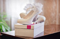 White shoes of fiancee wedding Royalty Free Stock Photos