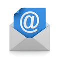 White at sign mail on blue paper in envelope E mail concept Royalty Free Stock Photo