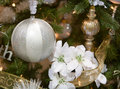 White and Silver Christmas Tree Ornament Stock Image