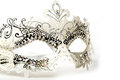 White and Silver Ornate Masquerade Mask on White Background Royalty Free Stock Photo