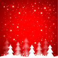 White simple christmas trees on red background vector illustration Stock Photo