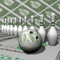 White size and dollar ball of bowling Royalty Free Stock Photo