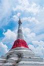 White slant pagoda in thailand located at river side at koh kret nonthaburi province Stock Photography