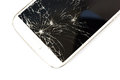 White smart phone broken on white isolate background closeup touch screen of Stock Image