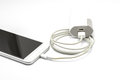 White smart phone charger with power bank battery bank closeup of on background Royalty Free Stock Image