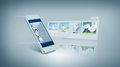 White smarthphone with video on screen technology and entertainment concept videon Stock Photography