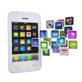 White smartphone with application icons Stock Photos