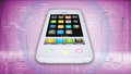 White smartphone on a high tech pink background the concept of future technology Stock Images