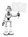 White smiling cartoon robot holding sign. Royalty Free Stock Photo