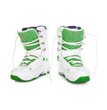 White snowboard boots on background Royalty Free Stock Photos