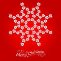 White snowflake on red background Royalty Free Stock Photo
