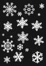 White snowflakes collection Stock Images