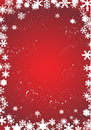 White snowflakes on red background Stock Photo