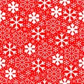 White snowflakes on red background. Christmas vector pattern