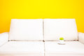 White sofa and cup with tangerine Royalty Free Stock Photos