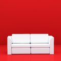 White sofa on red in room Stock Photography