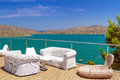 White sofas mirabello bay view crete Stock Photography