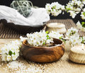 White Spa Flower Blossom in a Wooden Water Bowl.Beautiful Spa Tr Royalty Free Stock Photo