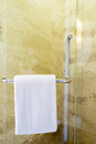 White spa towel hanging in the bathroom Royalty Free Stock Photography