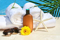 White spa towels by the pool Stock Images