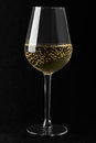 White sparkling wine glass on black background Royalty Free Stock Photo