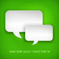 White speech bubbles on green square vector illustration Royalty Free Stock Photo