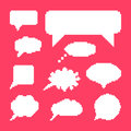 White speech bubbles set on pink background concept of web communion bit game onomatopoeia video game marks and quotation element Royalty Free Stock Images