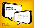 White speech bubbles on yellow square vector illustration Stock Photo