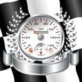 White Speedometer racing shield Royalty Free Stock Photo
