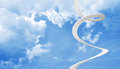 White spiral stairs goes in blue cloudy sky up Royalty Free Stock Photography