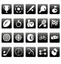 White sport icons on black squares this is file of eps format Royalty Free Stock Photos