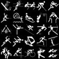 White sports icons set Royalty Free Stock Images