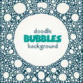 White square background with blue soap bubbles round frame Royalty Free Stock Photo
