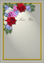 White square frame with an angle of flowers and leaves yellow border the words love you Royalty Free Stock Image