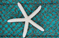 White starfish on fish net texture background Royalty Free Stock Photo