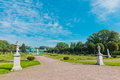 White statues in the park of kuskovo moscow russia Royalty Free Stock Images
