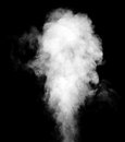 White steam cloud on black background. Royalty Free Stock Photo