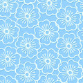 White stencil print hibiscus floral seamless pattern Royalty Free Stock Photo