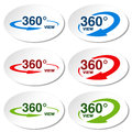 White stickers for virtual tour, oval labels with blue, red, green arrow and with text 360 and view.